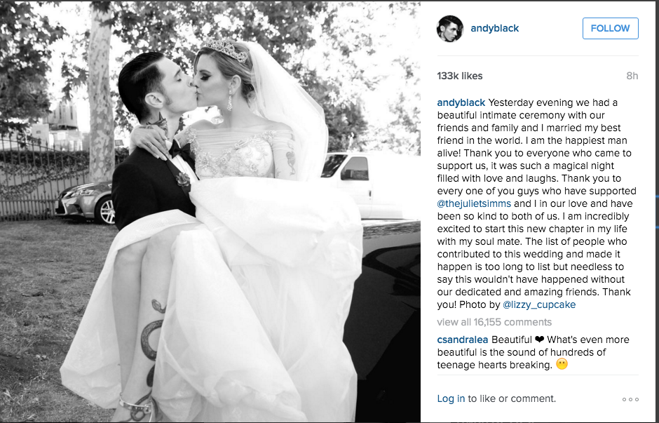 Juliet Simms And Andy Biersack Tie The Knot Stage Right